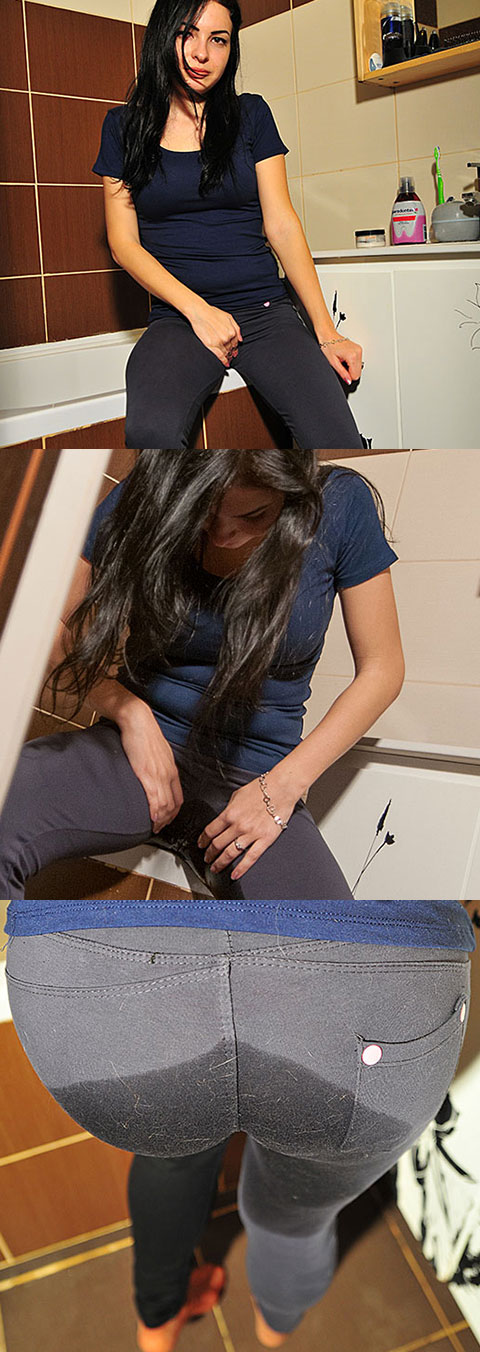 Soaking her pants with pee